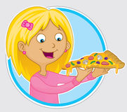 Girl eating slice of pizza Royalty Free Stock Images