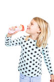 GIrl eating strawberry ice cream Royalty Free Stock Image