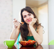 Girl eating vegetarian lunch Royalty Free Stock Photo