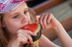 Girl eating watermelon Royalty Free Stock Photo