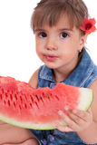 Girl eating a watermelon Royalty Free Stock Photos