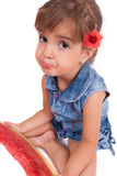Girl eating a watermelon Royalty Free Stock Photos