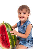 Girl eating a watermelon Royalty Free Stock Photo