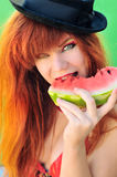 Girl eating watermelon Royalty Free Stock Photography