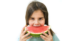 Girl eating Watermelon. Isolated on white background Stock Images