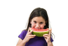 Girl eating Watermelon. Isolated on white background Royalty Free Stock Images