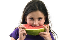Girl eating Watermelon. Isolated on white background Royalty Free Stock Photos
