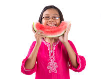 Girl Eating Watermelon III Stock Photo