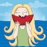 Girl eating watermelon illustration. Girl eating watermelon summer illustration Royalty Free Stock Images
