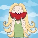 Girl eating watermelon illustration. Girl eating watermelon summer illustration Stock Images