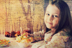 Girl eats fruit dessert Stock Photo