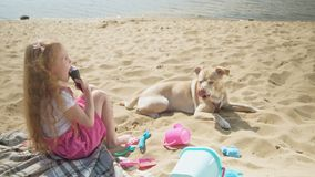 Girl eats ice cream and feeds the dog outdoors. The little girl with blond wavy hair in pink clothes eats ice cream and feeds the dog on the beach on the river stock footage