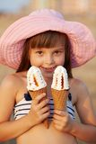 Girl eats ice cream Royalty Free Stock Photo