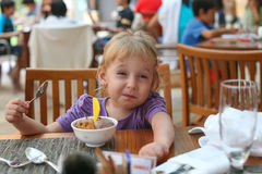Girl eats ice cream. Stock Photography