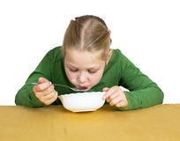 Girl eats isolated Royalty Free Stock Images