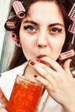 Girl eats jam Royalty Free Stock Photography