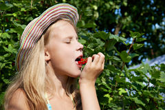 Girl eats red currant in the garden Stock Photos