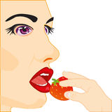Girl eats strawberries. Making look younger girl eats berry a strawberries Stock Photo