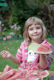 The girl eats a water-melon Royalty Free Stock Photo