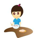Girl eatting. Breakfast of frame on white background Royalty Free Stock Photo
