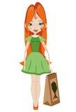 Girl with eco-bag Stock Photography