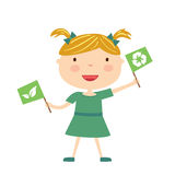 Girl with eco flag isolated Stock Images