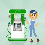 Girl on eco gas station Stock Images