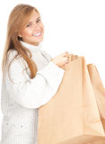 Girl with ecological paper shopping bags Royalty Free Stock Photography