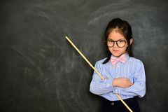 Girl educator teaching study class very strict stock images