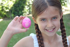 Girl with Egg Royalty Free Stock Photography