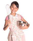 Girl With Egg Beater and Steel Bowl IX Royalty Free Stock Photo