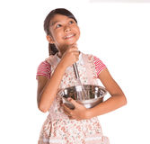 Girl With Egg Beater and Steel Bowl VIII Royalty Free Stock Photo