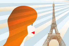 Girl and Eiffel tower - Stock Illustration. Picture with red hair girl and Eiffel tower vector illustration