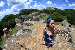 Girl in Ek balam. Girl on the top of Ek balam (black jaguar) mayan archaeological place Royalty Free Stock Photos