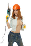 Girl with an electric drill Stock Images