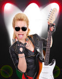Girl with electric guitar Stock Image