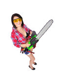 Girl with  electric saw Stock Photography