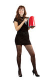 Girl with electric tea kettle Royalty Free Stock Photography