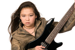 Girl with electro guitar. royalty free stock images