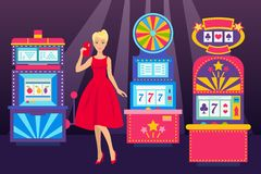 Girl in elegant dress with phone visiting casino place banner vector illustration. Win jackpot in game slot machine. Casino buildings, gaming machine, fortune stock illustration