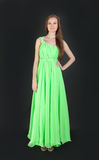 Girl in elegant green dress Stock Image