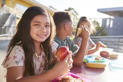 Girl at elementary school lunch table smiling to camera royalty free stock photography