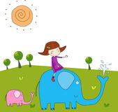 The girl and the elephant. Vector illustration Royalty Free Stock Photo