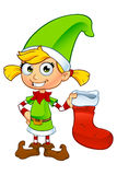 Girl Elf Character In Green Royalty Free Stock Image