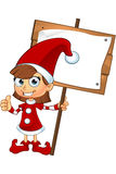 Girl Elf Character In Red. A cartoon illustration of a cute girl elf character dressed in red Stock Photography