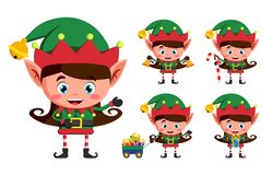 Girl elf christmas vector character set. Kid elves cartoon characters playing. And holding christmas elements and objects isolated in white background. Vector vector illustration