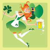 Girl elf on the feast day of St. Patrick. Girl elf on the holiday of St. Patricks day with a beer and a Shamrock in his hand dancing royalty free illustration