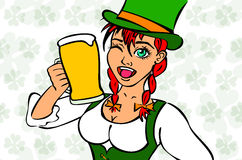 Girl elf green costume St. Patrick day Stock Images