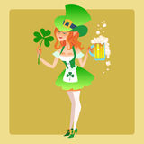Girl elf green costume St. Patrick day. Girl elf green costume St. Patricks day with a beer and leaves of the Shamrock Royalty Free Stock Images