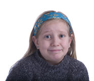 Girl Embarrassed in a Gray Sweater stock images
